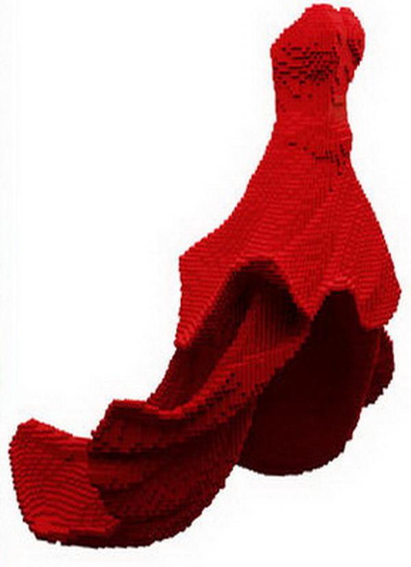 Crvena haljina od lego kockica