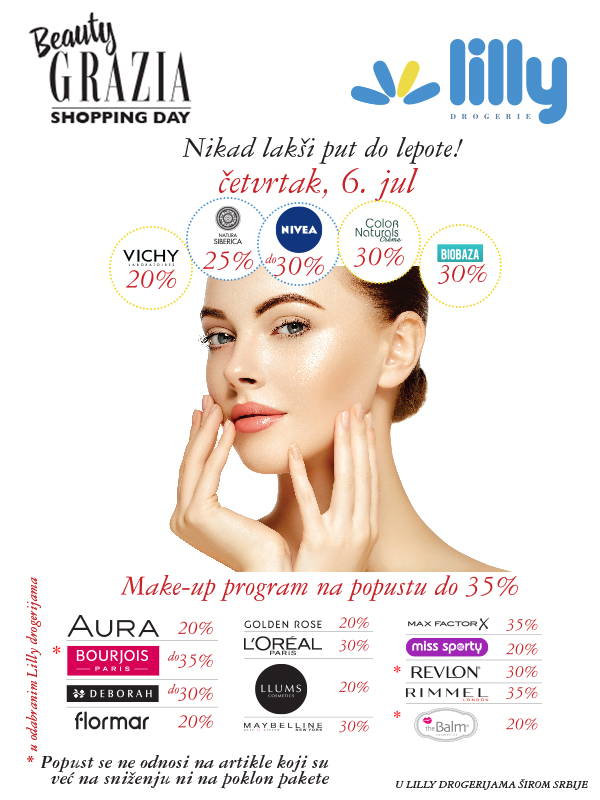 Beauty Grazia Shopping Day, 6. jula u Lilly drogerijama širom Srbije!
