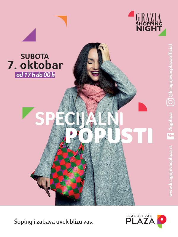 Grazia Shopping Night u Kragujevac Plazi, 7. oktobar – šoping i zabava uvek blizu vas