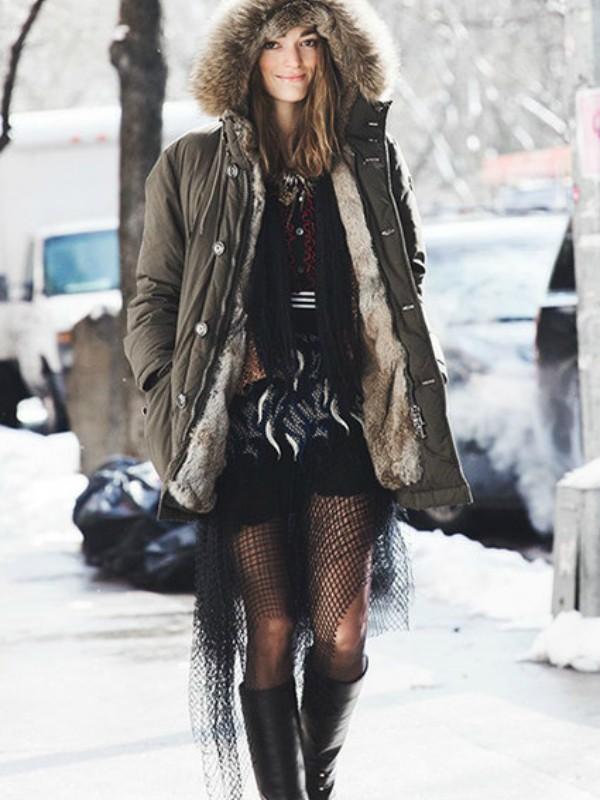 Kako nositi parku i izgledati ženstveno: 20 ideja za zimu
