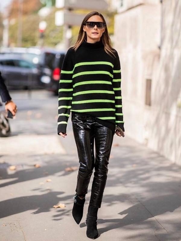 Kožne pantalone u stilu Olivije Palermo